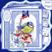 BLUE TIT Christmas 7.8 Quick Layer or Decoupage Card Kit