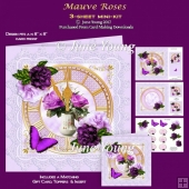 Mauve Roses - 3-Sheet Mini-Kit