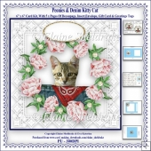 Peonies & Denim Kitty Cat - 6 x 6 Card Kit With Decoupage etc.
