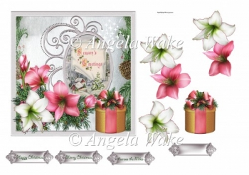 Festive flowers and gift 6x6