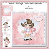 Hearts Girl Large Card Front And Insert