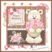Bouquet Bear Card Front & Decoupage