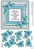 Blue Dahlia frame with verse and floral decoupage 7 x 7 card
