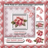 Pink Rose on Lace Decoupage Card Front