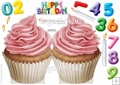 Number Candle Cup Cake (Pink)