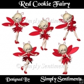 5 Digital Red Cookie Fairy Posers