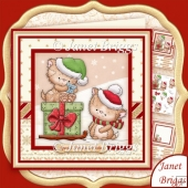KITTYS CHRISTMAS SLEIGH 8x8 Decoupage & Insert Kit