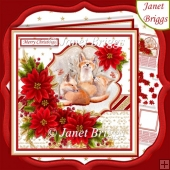 FOX FAMILY & POINSETTIA 7.5 Christmas Decoupage & Insert Kit
