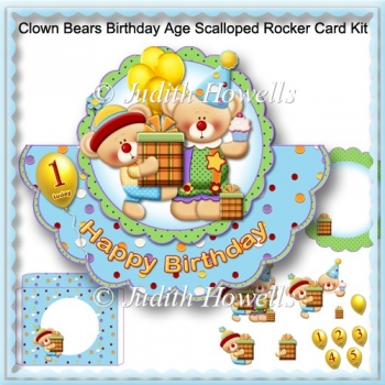 Clown Bears Birthday Age Scalloped Rocker Card Kit
