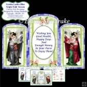 Triple Fold Geisha Blue Screen - Card Kit With Decoupage