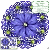 Blue Clematis Mandala Card Topper