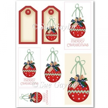 Merry Christmas Bauble Card Toppers + Gift Tags