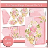 Floral Bouquet Upright Diamond Fold Card