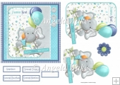 Baby elephant first birthday 6x6 card