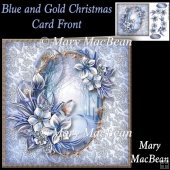 Blue and Gold Christmas Card Front