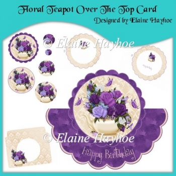Floral Teapot Over The Top Card
