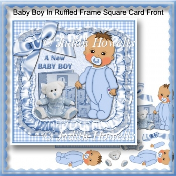Baby Boy In Ruffled Frame Square Card Front