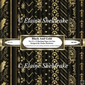 Black And Gold - Ten 12 x 12 Papers - Set One
