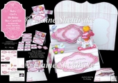 Baby Girl's Birthday Pop-Up Box Card Kit & Matching Envelope