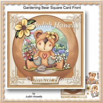 Gardening Bear Square Card Front