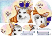 King for a Day, Happy Fathers Day, corgi dog oval pyramage