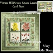 Vintage Wildflowers Square Layers Card Front