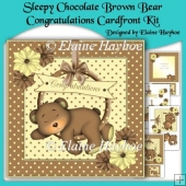 Sleepy Chocolate Brown Bear Congratulations 8x8 Cardfront Kit