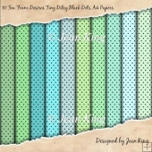 10 Sea Foam Desires Tiny Ditsy Black Dots A4 Papers