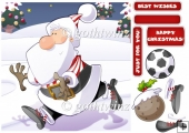 Football Santa Dude (red and White Stripes) 8x8 With Insert