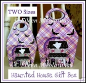 Set of 2 Whimsical Halloween Haunted Houses Handled Gift Boxes