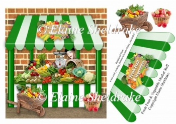 Fruit And Veg Market Stall Square Card Topper & Decoupage