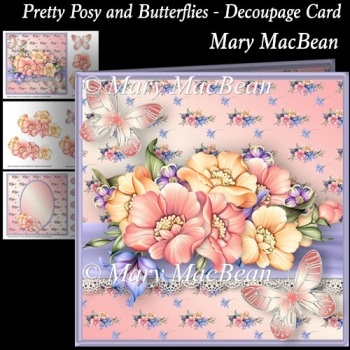 Pretty Posy and Butterflies - Decoupage Card