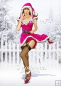 1950's Pin Up Girl Eva Grace Winter Wonderland Cerise A4