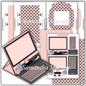 Pink Computer PDF Easel Card Download
