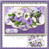 Lilac And White Flower Spray Envelope Style Card Front