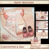 7.5 x 7.5 Card Topper Insert and Minibag Baby Birthday