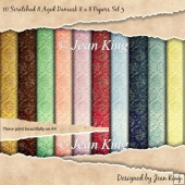 10 Scratched & Aged Damask 8 x 8 Papers Set 3