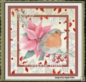 Robin and poinsettia 7x7 card