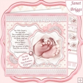 BABY TOES & VERSE Pink New Baby Girl 7.5 Decoupage & Insert Kit