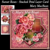 Sunset Roses - Stacked Petal Layer Card