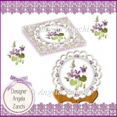 VIOLETS PLATE CARD STAND AND DISPLAY BOX MOTHERS DAY OR BIRTHDAY
