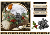 Christmas Robin 7x7 Black With Matching Insert