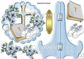 Christening topper plate & stand for baby boy