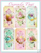 Cottage Chic Pastel Bling Cupcake Tag Set
