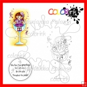 Champagne Mary and Circle Sentiment Digital Stamps