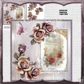 Country rose card with decoupage