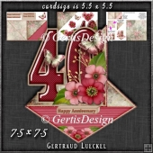 Vintage Easel 40th Ruby Wedding Card Kit 1178