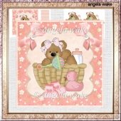 Teddy bear in a basket baby shower card with decoupage