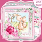 MUMMY BUNNY 7.5 Decoupage & Insert Kit Various Occasions