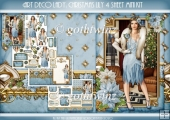 Art Deco Lady Lily Christmas 4 Sheet mini Kit Light Blue